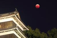 皆既月食と上田城の南櫓 10247016963| 写真素材・ストックフォト・画像・イラスト素材|アマナイメージズ