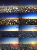 東京スカイツリーと錦糸町方向の街並の夜明けから朝日 10247018560| 写真素材・ストックフォト・画像・イラスト素材|アマナイメージズ
