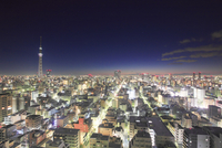 夜明け前の東京スカイツリーと錦糸町方向の街並 10247018561| 写真素材・ストックフォト・画像・イラスト素材|アマナイメージズ