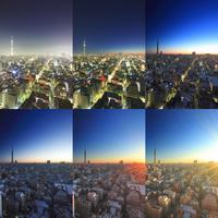 東京スカイツリーと錦糸町方向の街並の夜明けから朝日 10247018577| 写真素材・ストックフォト・画像・イラスト素材|アマナイメージズ