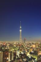 夜明けの東京スカイツリーと錦糸町方向の街並 10247018582| 写真素材・ストックフォト・画像・イラスト素材|アマナイメージズ