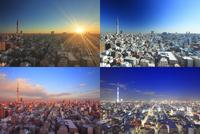 東京スカイツリーと錦糸町方向の街並の一日,朝昼夕夜 10247018625| 写真素材・ストックフォト・画像・イラスト素材|アマナイメージズ