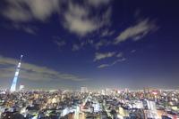 東京スカイツリーのライトアップと錦糸町方向の街並 10247018637| 写真素材・ストックフォト・画像・イラスト素材|アマナイメージズ