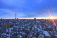 朝日と東京スカイツリーと錦糸町方向の街並 10247018638| 写真素材・ストックフォト・画像・イラスト素材|アマナイメージズ