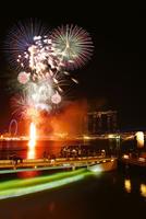新年節の花火とマーライオンとマリーナ・ベイ・サンズ
