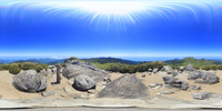 宮之浦岳三角点からの展望のVRパノラマ 10247019796| 写真素材・ストックフォト・画像・イラスト素材|アマナイメージズ