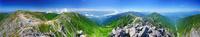 宝剣岳から望む木曽駒ヶ岳と南アルプスと千畳敷カールのパノラマ