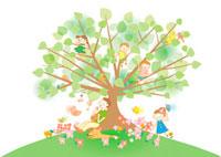 家族と樹木 10248000016| 写真素材・ストックフォト・画像・イラスト素材|アマナイメージズ