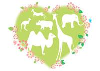 動物とハートと花