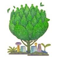 イラストの人型の樹木とビル街と双葉のエコイメージ
