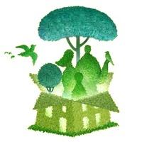イラストの鳥と人物と家の樹木のエコイメージ