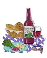 イラストのパンとチーズとラディッシュとワイン