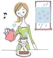 イラスト コーヒーを入れる女性