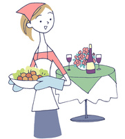 イラスト 食事の準備をする女性