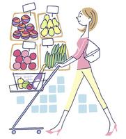 イラスト スーパーで買物する女性