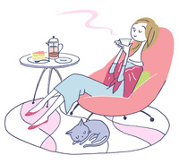 イラスト リビングで紅茶を飲む女性と猫