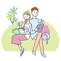 イラスト お茶を飲むカップル