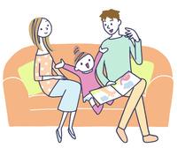 イラスト ソファに座る三人家族