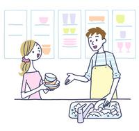 イラスト キッチンで料理する夫婦