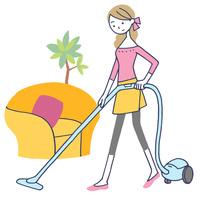 イラスト 掃除する女性