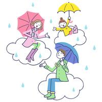 傘をさして雲に座る家族