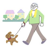 犬と散歩するシニア男性