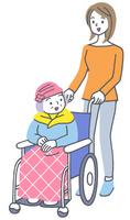車椅子のシニア女性と娘イラスト