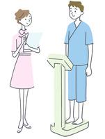 体重を測る看護師と男性イラスト