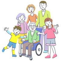 イラスト 車椅子の老人の三世代家族