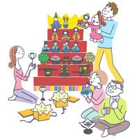 イラスト 雛祭りの三世代家族