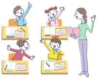 授業中の小学生と女性教師