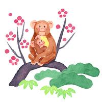 猿干支イラスト