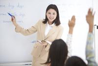 授業中の女性教師と小学生の生徒