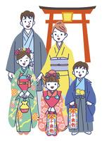 神社で七五三の家族