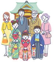 神社で七五三の三世代家族