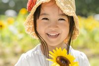 ヒマワリ畑の女の子