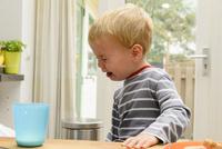 牛乳をこぼして泣いてしまった男の子 10264007788| 写真素材・ストックフォト・画像・イラスト素材|アマナイメージズ