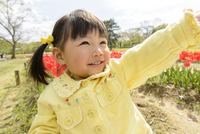 春の公園でチューリップ畑で遊ぶ女の子
