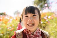 コスモス畑で遊ぶ女の子 10264008167| 写真素材・ストックフォト・画像・イラスト素材|アマナイメージズ