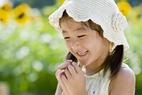 向日葵畑で遊ぶ女の子 10264008191| 写真素材・ストックフォト・画像・イラスト素材|アマナイメージズ