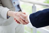 握手をする男性と女性の手のアップ