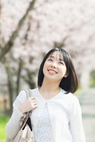 桜並木と見上げる日本人女性