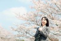桜の木と日本人ビジネスウーマン