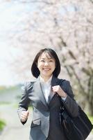 桜並木を走る日本人ビジネスウーマン 10272002374  写真素材・ストックフォト・画像・イラスト素材 アマナイメージズ