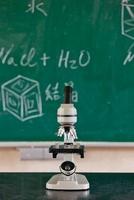 顕微鏡と黒板
