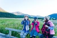 柵に座り写真を撮る日本人女性