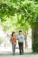 新緑の並木道を歩く日本人カップル