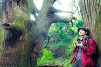 木にもたれカメラを持つ日本人女性