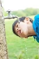 水道水を飲む日本人の男の子