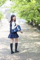 新緑の並木道を歩く女子高生